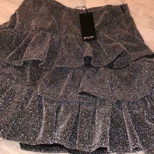 NastyGal Metallic Ruffle Mini Skirt